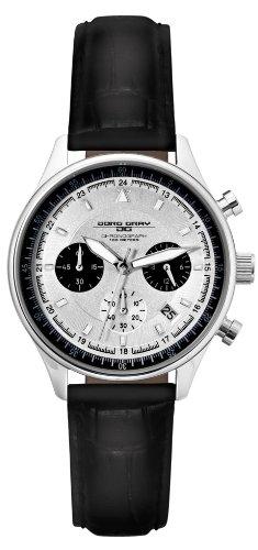 Jorg Gray JG6550L - Reloj cronógrafo de mujer de cuarzo con correa de piel negra - sumergible a 100 metros