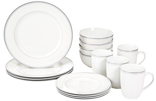 AmazonBasics 16-Piece Cafe Stripe Dinnerware Set, Service for 4 - Grey Tableware
