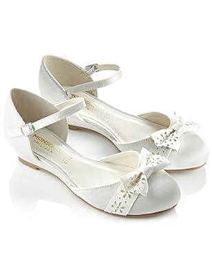 Monsoon Filles Chaussures deux parties à semelle compensée ornées d'un nœud ajouré Taille Chaussures 37 Ivoire