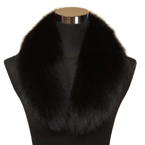 Ferrand New Large Real Genuine Detachable Fox Fur Collar Scarf Wrap Lf01 Black