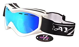 2014 Rayzor Professional UV400 Double Lensed Ski / SnowBoard Goggles, With a White Frame and an Anti Fog Coated, Vented Blue Iridium Mirrored Anti-Glare Wide Vision Clarity Lens.
