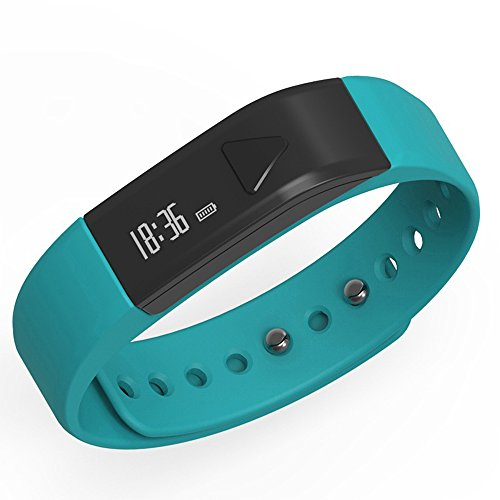 Juboury Bluetooth Fitness Tracker I5 Wristbands with Pedometer Sleep for IOS and Android Phones - Blue