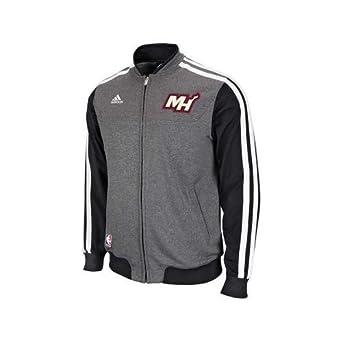 adidas Miami Heat On-Court Second Half Jacket - Gray Black by adidas