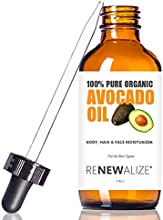 Organic AVOCADO OIL - Cold Pressed and Unrefined in LARGE 4 OZ DARK GLASS BOTTLE with Glass Eye Drop
