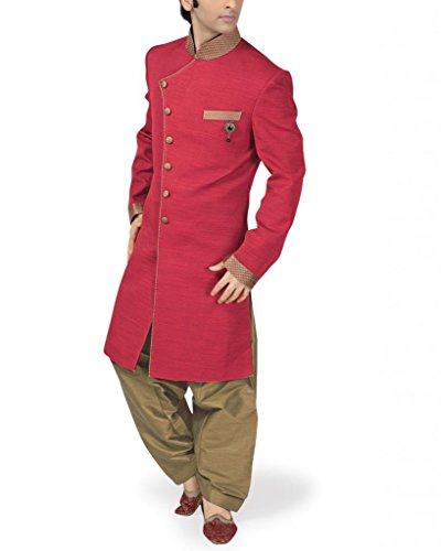 Fashion-Curries-Mens-red-jacquard-Indowestern