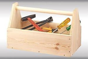 Kesper Werkzeugkoffer, Werkzeugkiste, Werkzeugaufbewahrung, aus FSC®- Kiefernholz, Maße: ca. 420 x 210 x 260 mm