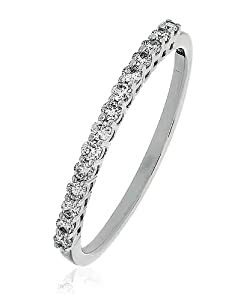 0.20CT Certified G/VS2 Round Brilliant Cut Claw Set Half Eternity Diamond Ring in 18K White Gold
