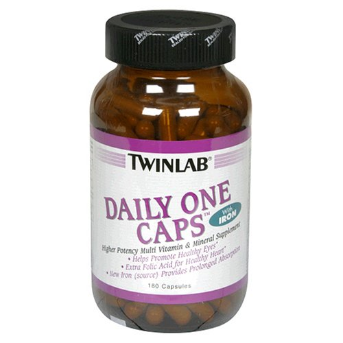 Twinlab Daily One Caps Multi-Vitamin and Mineral Supplement with Iron, 180 Capsules