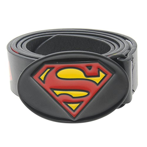 DC Comics Superman-Cintura in pelle, da uomo, colore: nero/rosso/giallo, Pantaloni con fascia in vita