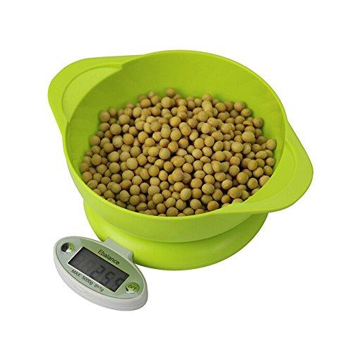 Ebalance ® balance culinaire numérique avec saladier pliable pondération balance alimentaire pour cuisine 5 kg/1 g vert, Plastique, 303A-Grün