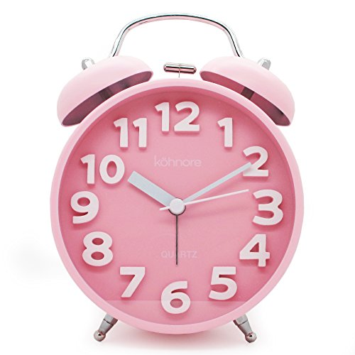 JCC Easy-to-read White Arabic numerals Twin bell Silent Quartz Analog non ticking sweep second hand bedside alarm clock (Pink)