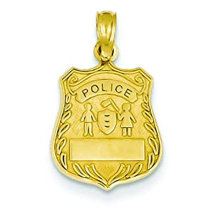 14K Gold Police Badge Engravable Charm Cop Pendant