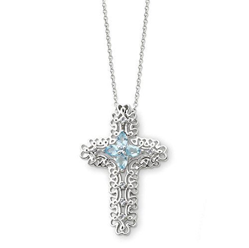Sterling Silver Mar. Cz Birthstone Message Of The Cross 18In Necklace.