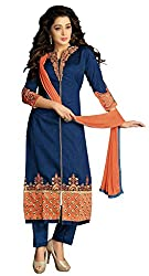 Kallpam Fashion Women's Blue Chanderi Dress Material