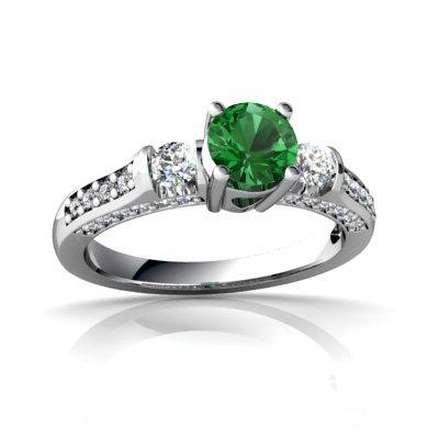 14ct White Gold Round Lab Emerald Ring