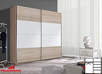 Schwebeturenschrank Kleiderschrank 54020 2-turig sonoma eiche / weiß 220cm