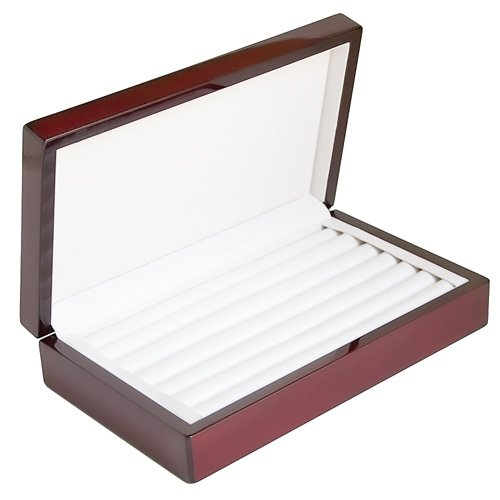 caddy-bay-collection-rosewood-color-glossy-finish-jewelry-ring-case-display-cuff-links-body-jewelry-