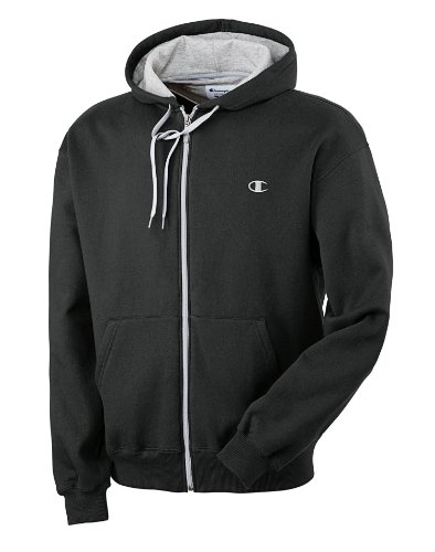 Champion Men's Eco Fleece Full Zip Hoodie, Black,