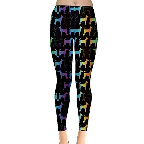 Colorful Bright Spectrum Pattern of Dog Silhouettes on Black Women
