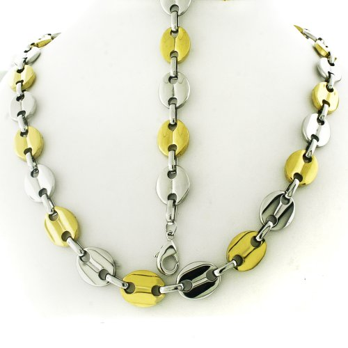 Mens Two Tone Italy Stainless Steel Link Chain Necklace 24
