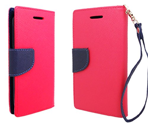 Mylife (Tm) Neon Pink + Navy Blue {Professional Design} Faux Leather (Card, Cash And Id Holder + Magnetic Closing) Slim Wallet For The All-New Htc One M8 Android Smartphone - Aka, 2Nd Gen Htc One (External Textured Synthetic Leather With Magnetic Clip + I