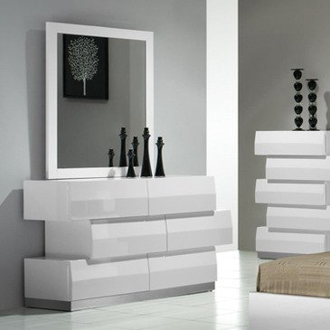 J&M Furniture Milan Dresser & Mirror In White Lacquer