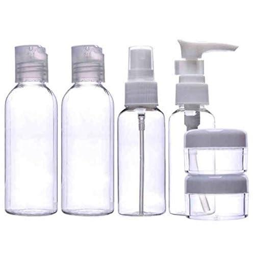 旅行 必需品! シャワー ジェル シャンプー スキンケア 化粧品 小分けボトル 旅行 トラベル セット 持ち運び袋 お手入れに便利なクロス付き8点セット