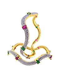 Aabhushan Jewels Ruby & Emerald Look Gold Plated American Diamond Bangles For Women - B00WUE7N5E