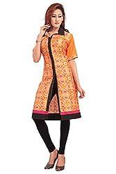 Jambudi Creation Self Designer Floral Printed Orange Cotton Kurti