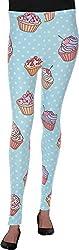 BONNE VIE Women's Cotton & Lycra Leggings (Sky Blue)