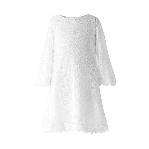 Funtrees Little Miss Lace Overlay A-Line Long Sleeve Dress Size 6-7T White