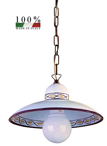 Sospensione lampadario in ceramica decorata a mano cm 40 marrone
