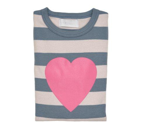 Bob and Blossom Heart T-shirt - Slate & Stone Striped 4-5 years
