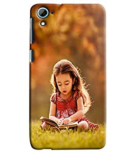 Blue Throat Little Girl Studying Hard Plastic Printed Back Cover/Case For HTC Desire 826