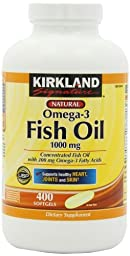 Kirkland Signature Natural Fish Oil Concentrate with Omega-3 Fatty Acids, 400 Softgels, 1000mg (Pack of 3)