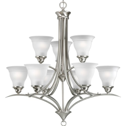 B0013U75P4 Progress Lighting P4329-09 9-Light Trinity Chandelier, Brushed Nickel