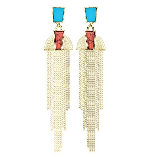 Luck Wang Woman's Unique Fashion Exaggerated Geometric Elements Drip Long Paragraph Tassel Earrings (Bloody Bolt Kit)