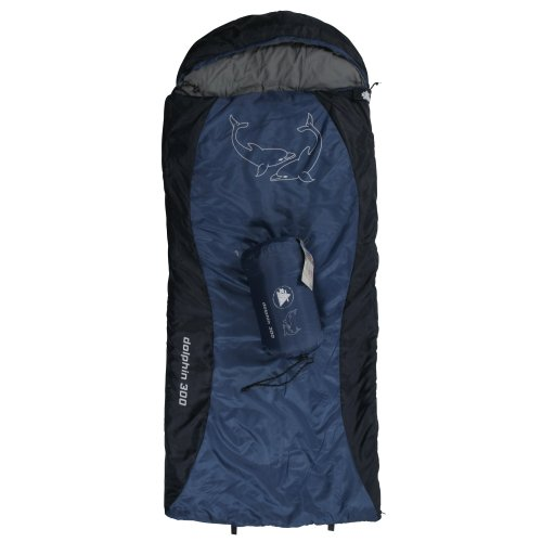 10T Dolphin 300 - Kinder Decken-Schlafsack mit Halbmond-Kopfteil 180x75cm blau/dunkelblau Motivdruck bis +10°C