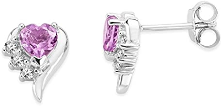 Byjoy 925 Sterling Silver Heart Shape Amethyst Stud Earrings BAE407E