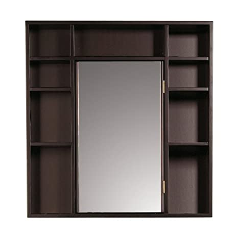 Decolav 9700-RM Wood Frame Medicine Cabinet with Double-Sided Mirror, Red Mahogany