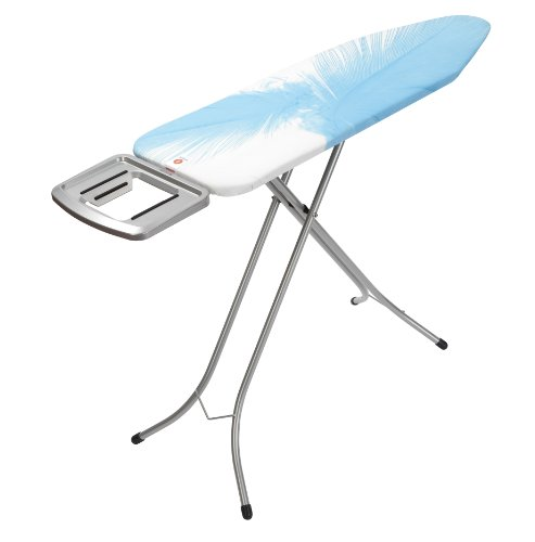 Brabantia Ironing Board with Solid Steam Iron Rest, Size B, 124 x 38cm, 22mm Metallic Grey Frame, Feathers Cover