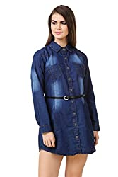 Big Pout women Dark Shade denim wash denim dress tunic with Pocket and Belt Dress - L Size ( Dark Blue )