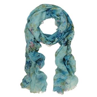 Premium Soft Viscose Flower Print Scarf, Blue
