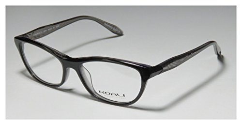 Koali 7447k Womens/Ladies Ophthalmic Trendy Designer Full-rim Eyeglasses/Spectacles (54-16-135, Black / Transparent Gray)