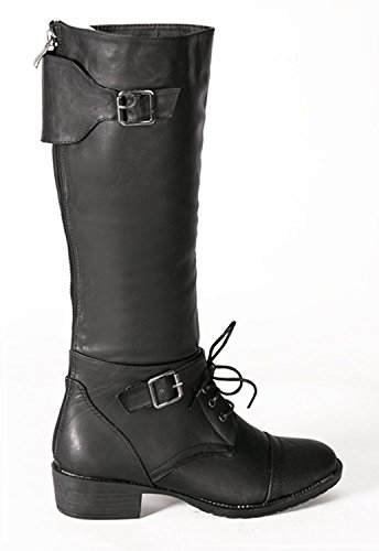 Buckle-Strap-Vintage-Style-Hipster-Steampunk-Western-Gothic-Grunge-Women-Riding-Boots
