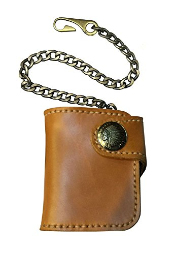 D'SHARK Men's Biker Genuine Leather Luxury Bi-fold Wallet with Chain (Brown) 0