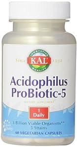 KAL Acidophilus Tablets, Probiotic-5 Capsules, 3 Bil, 60 Count