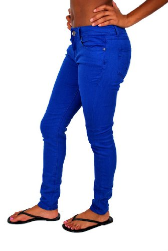 Touch Me Women's Skinny Colored Denim Pants Royal Blue 7/8
