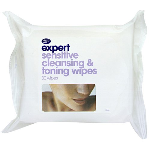 Boots Expert Sensitive Cleansing and Toning Wipes - 30 pack