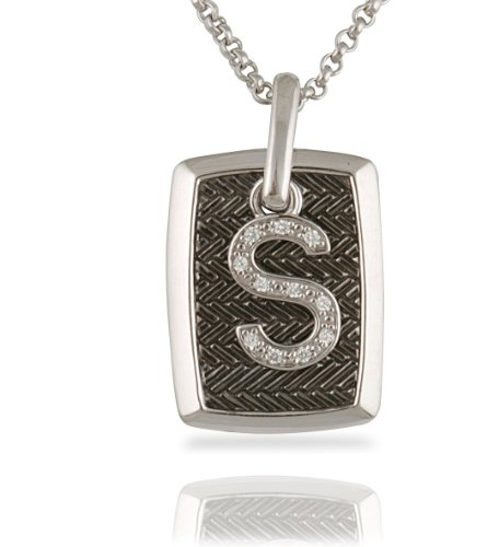 "Élan Sterling Silver And Brilliant Diamond Initial ""S"" Dog Tag Pendant With A 18"" Chain"